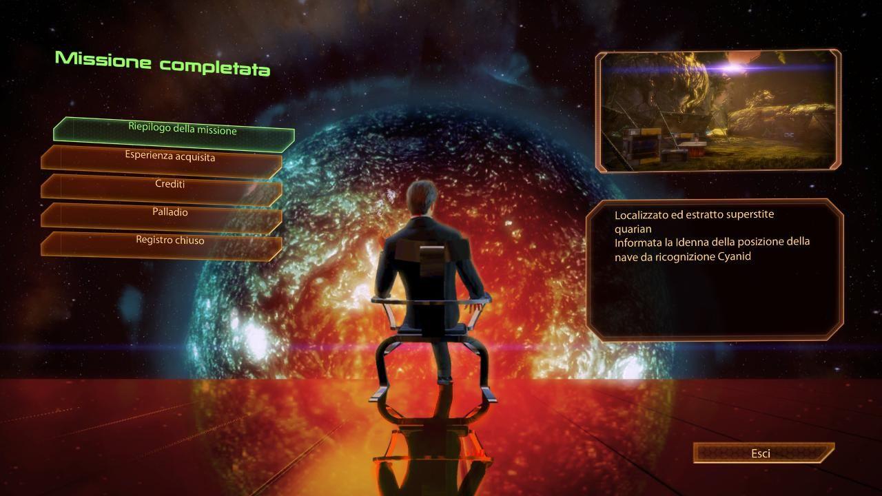 Alla fine di una missione comparirà questa schermata riassuntiva.