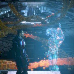 Il Comandante Shepard durante la connessione al consenso Geth
