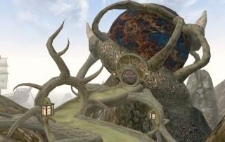 La Sala del Consiglio di Sadrith Mora è costituita da un'enorme sfera sorretta da radici aeree